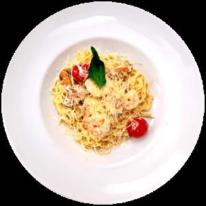 Спагетті з креветками та мідіями