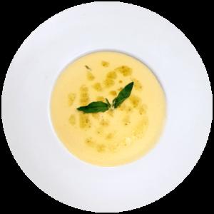 Сирний крем суп з базиліком